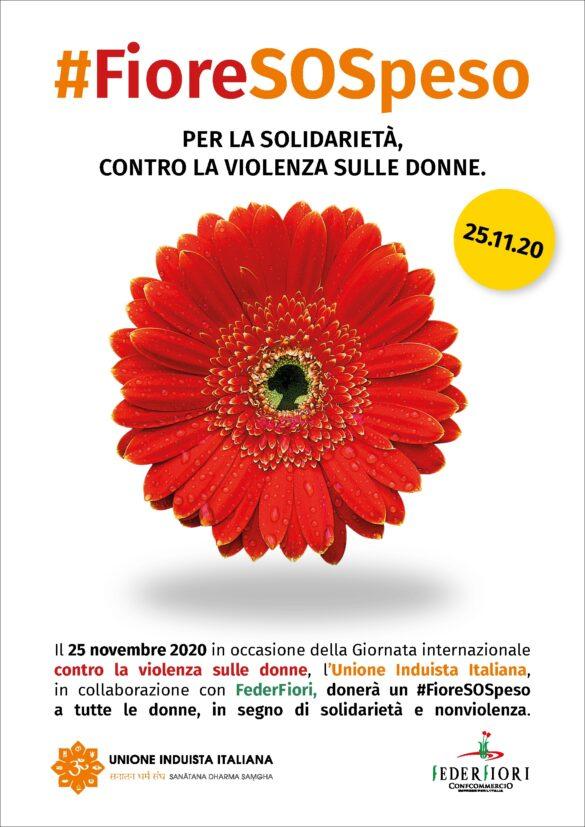 """Violenza donne: un """"fiore sospeso"""" il 25 novembre per dire no"""