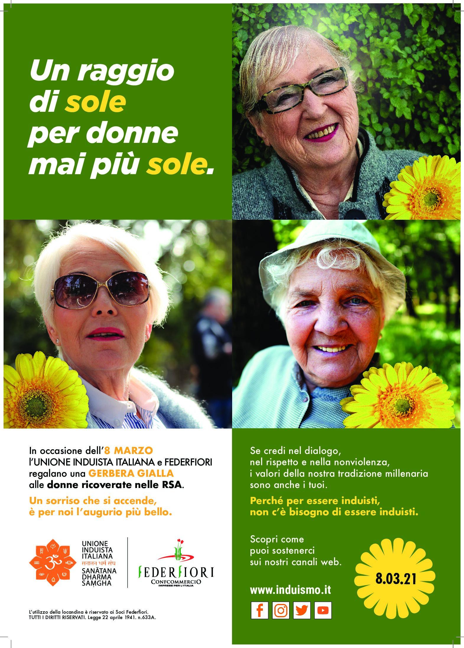 8 MARZO: anche in Sicilia il dono delle gerbere gialle alle anziane ospiti di 30 RSA